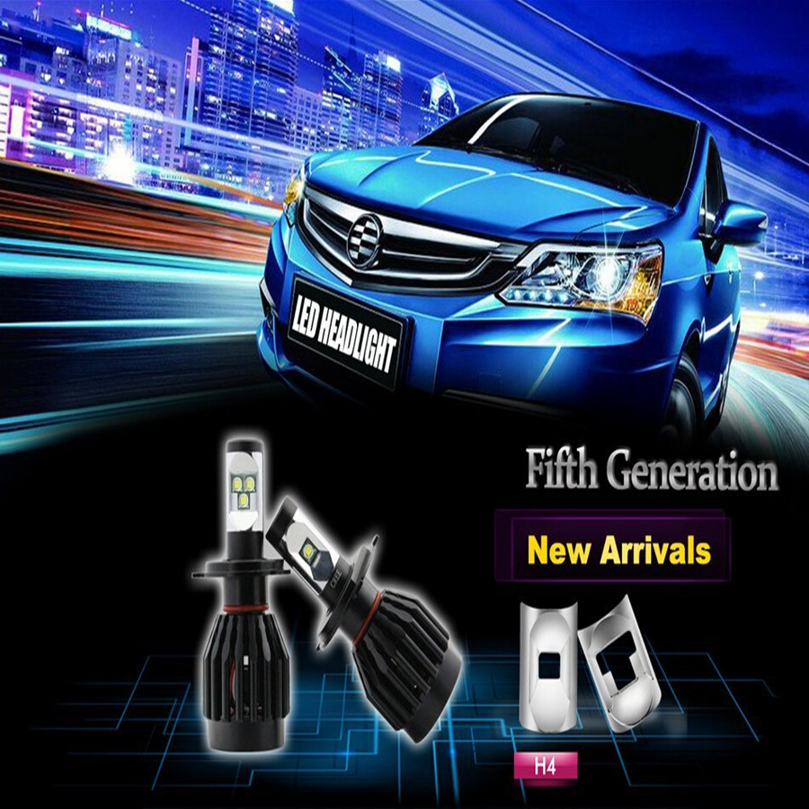 CE RoHS All In One Led H4 9003 P43t HB2 Dual Beam Headlight Bulb 80W 8000lms Hid Xenon Conversion Kit Car Led Lights Canbus