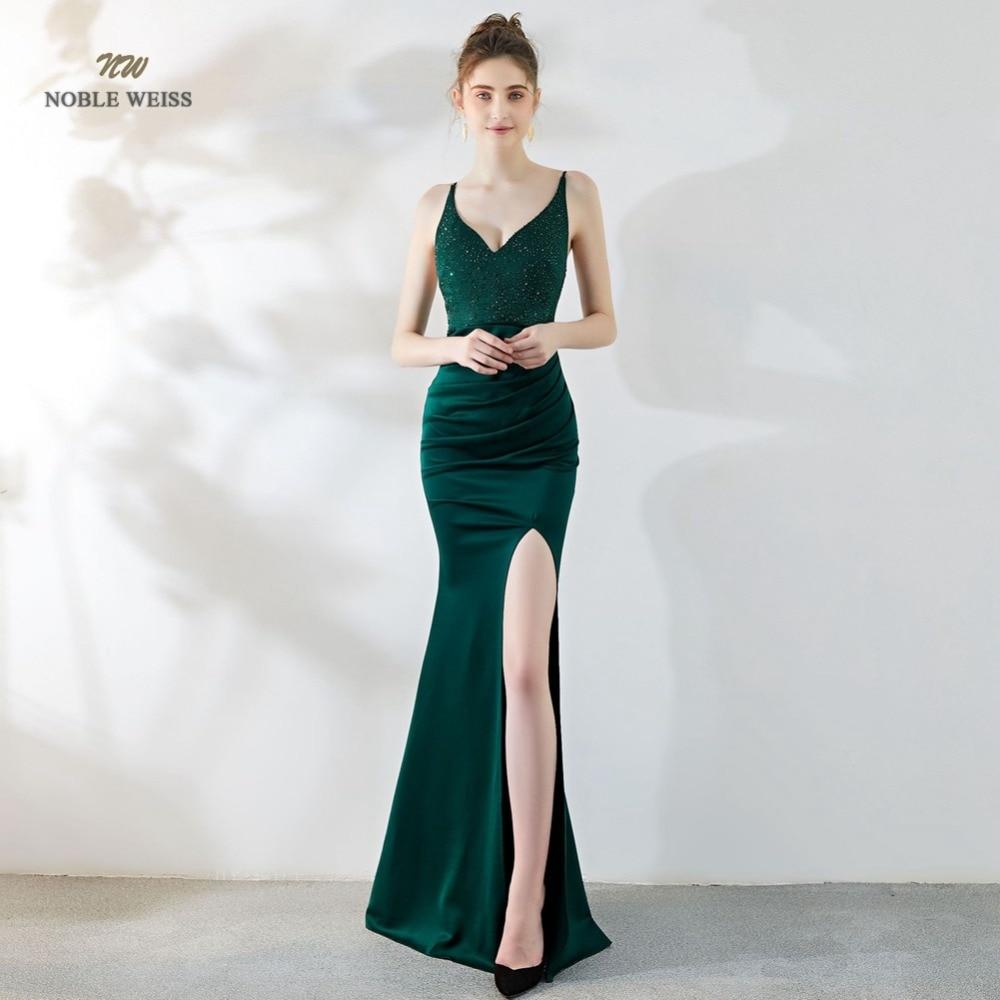 Sexy Prom Dress Satin Bare Back Split Simple Long Crystal V-neck Mermaid Party/Prom Dresses