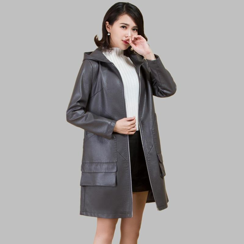 2019 Women's Mid-length Coat Ladies Loose   Leather   Trench Color Hooded Zipper Jacket Jaqueta De Couro Feminino Promotion