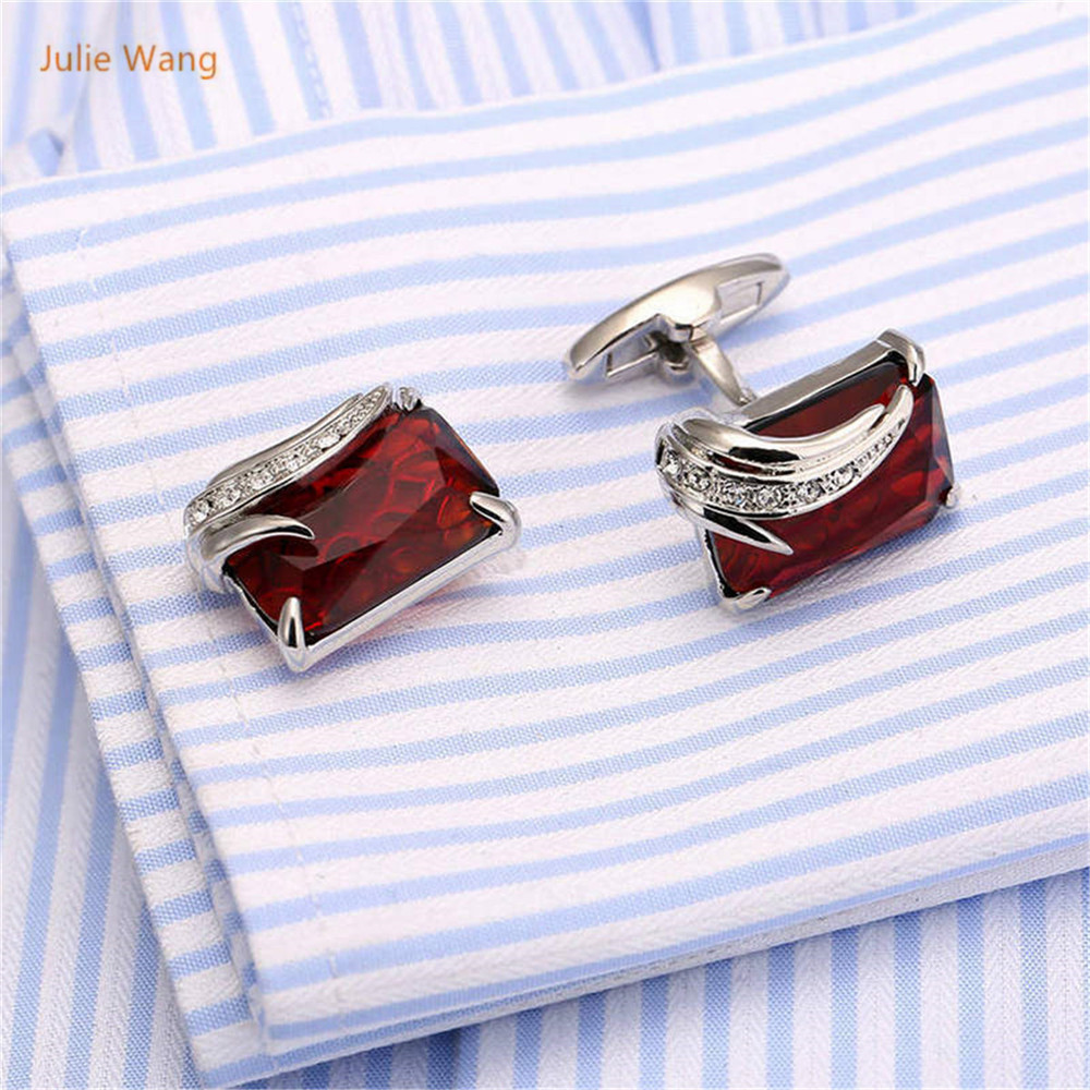 1 Pair Creative High-end French Red Natural Stone Cufflinks Cuff Nails Angel's Feather Shape Cuff links