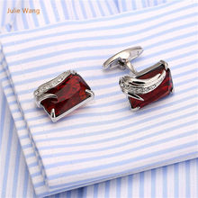 1 Pair Creative High-end French Red Natural Stone Cufflinks Cuff Nails Angel's Feather Shape Cuff links(China)