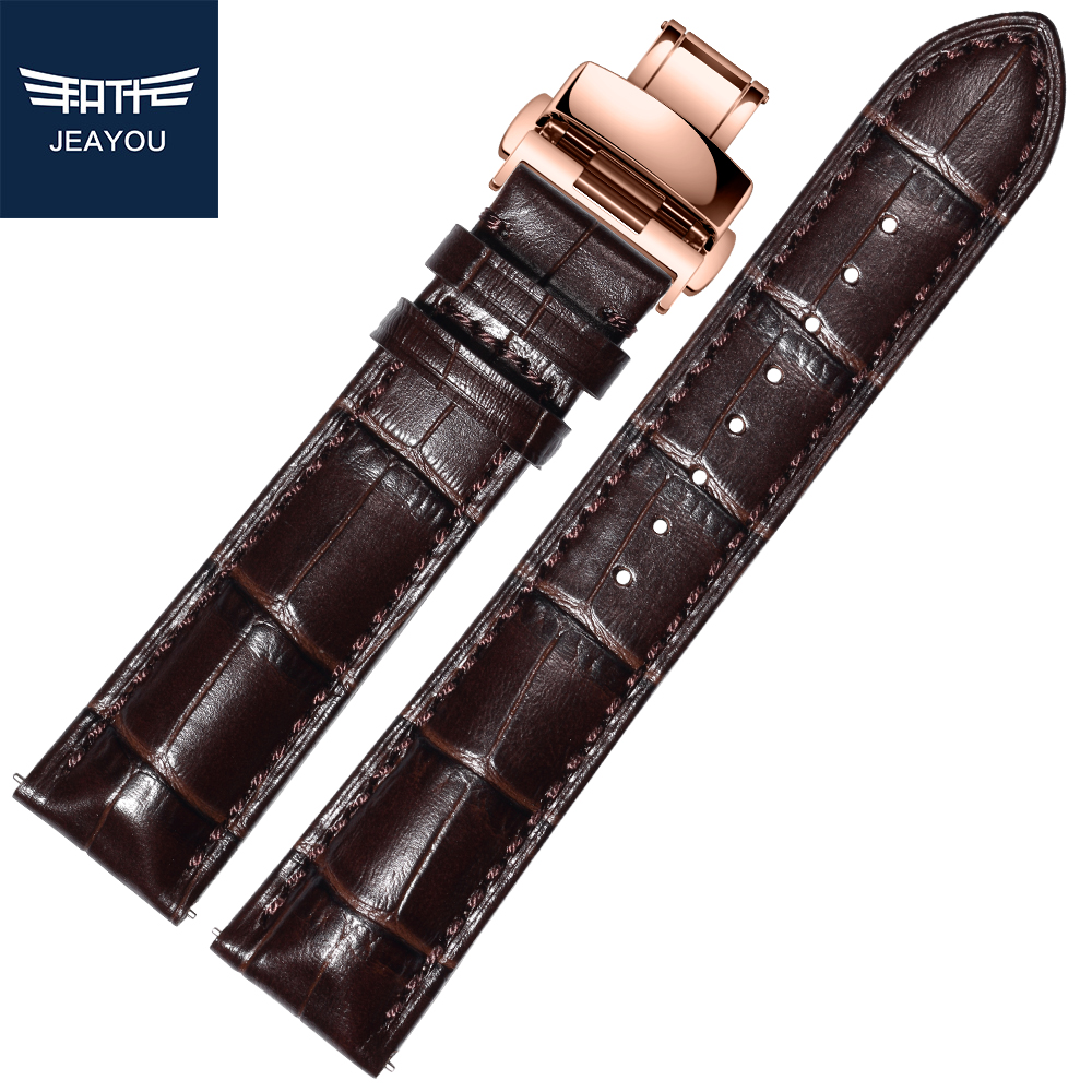 JEAYOU Men Genuine Leather Watch Strap WatchBands For Tissot/Omega/IWC With Rose Gold Deployment Buckle 18mm 19mm 20mm 21mm 22mm