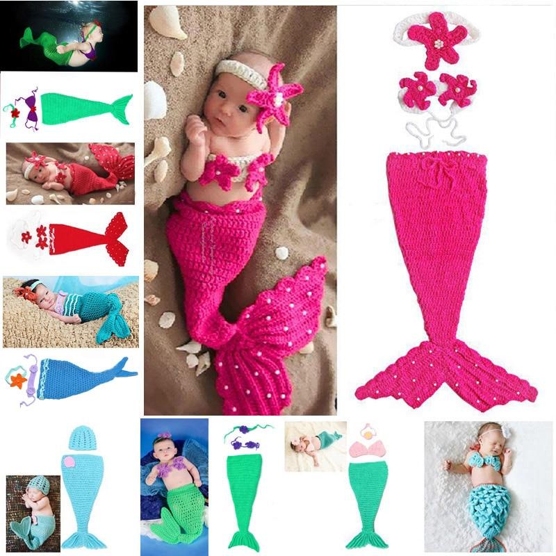 ᐂBebé crochet sirena animal Costume set recién nacido foto atrezzo ...