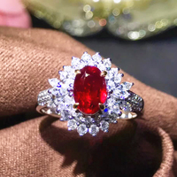 Royal jewellery supplier wholesale classic luxury 18k white gold diamond natural Ruby gold ring for women wedding engagement