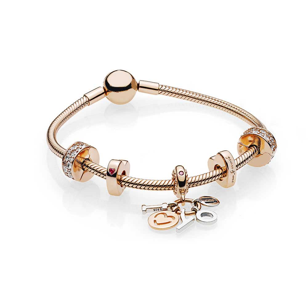 лучшая цена ROBOL 100% 925 Sterling silver ROSE I LOVE YOU BRACELET SET fit DIY Original charm Bracelets jewelry gift A set of prices