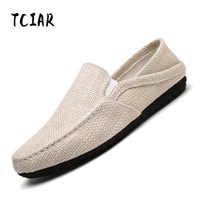 2018 Summer Men's Loafers Breathable Hemp Cloth Shoes Comfortable Casual Slip-on Moccasins Flats Shoes for Drivings DL001