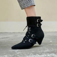 Hot Brand Strange Style Heel Ankle Boots Side Zipper Women Shoes Metal Belt Buckle Women Boots Front Lace Up Short Booties Cool
