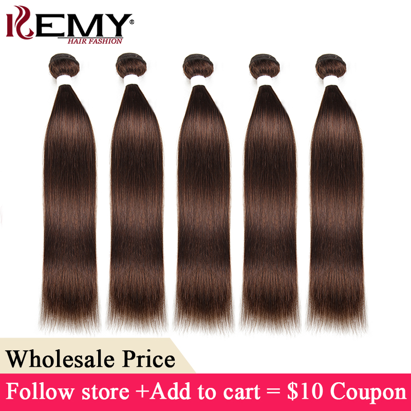 Medium Brown Brazilian Straight Human Hair Bundles KEMY HAIR Non-Remy Hair Extensions 3-7 Days to Deliver Wholesale Hair(China)