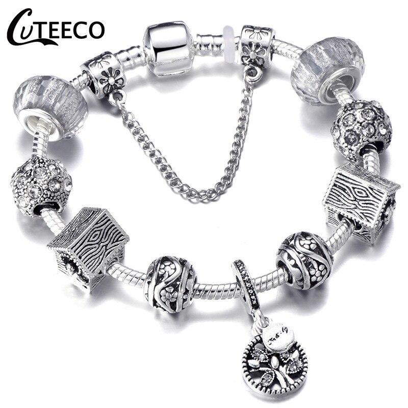 CUTEECO 925, модный серебряный браслет с шармами, браслет для женщин, Хрустальный цветок, сказочный шарик, подходит для брендовых браслетов, ювелирные изделия, браслеты - Окраска металла: AJ3020