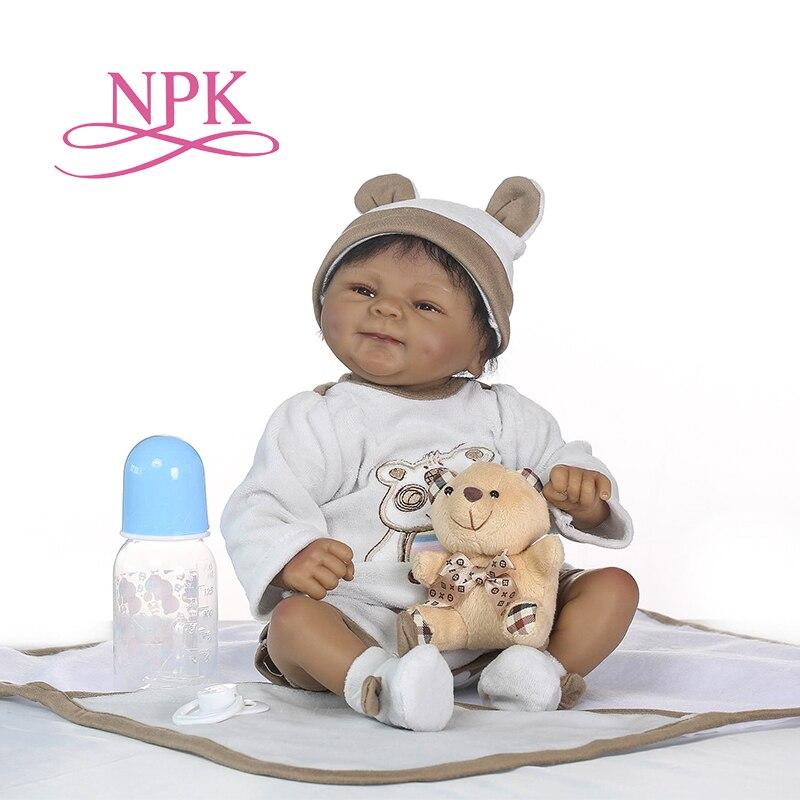 NPK lifelike boneca reborn soft silicone real silicone reborn baby dolls black bebe hot toys Christmas