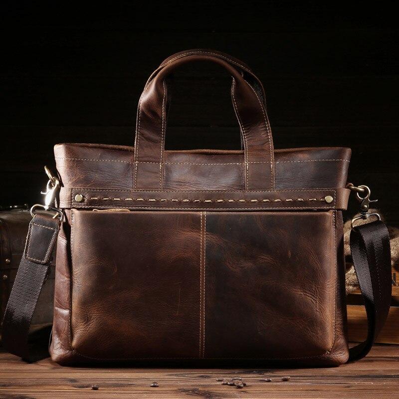 ALAVCHNV männer Retro Auseinandersetzungen Leder Handtasche Business Erste Cowboy Aktentasche 8059 3-in Aktentaschen aus Gepäck & Taschen bei  Gruppe 1
