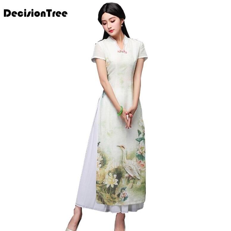 c883b0e4dac 2019 летние аозай платье aodai старинные этнические aodai короткие  китайское платье-Ципао с рукавами женские