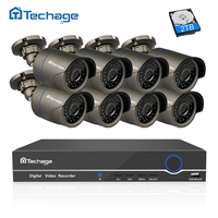 Techage 8CH 1080P POE NVR CCTV System Indoor Outdoor IP66 Waterproof IP Camera P2P Cloud Service