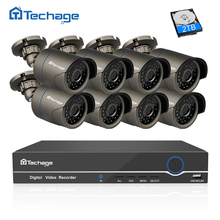 Techage 8CH 1080P HDMI POE NVR CCTV System 2MP Outdoor IP66 IP Camera P2P Onvif Security Surveillance Kit Motion Detect APP View