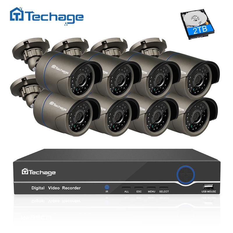 Techage 8ch 1080 P HDMI PoE NVR CCTV Системы 2mp Открытый IP66 IP Камера P2P ONVIF видеонаблюдения движения комплект обнаружить приложение просмотра
