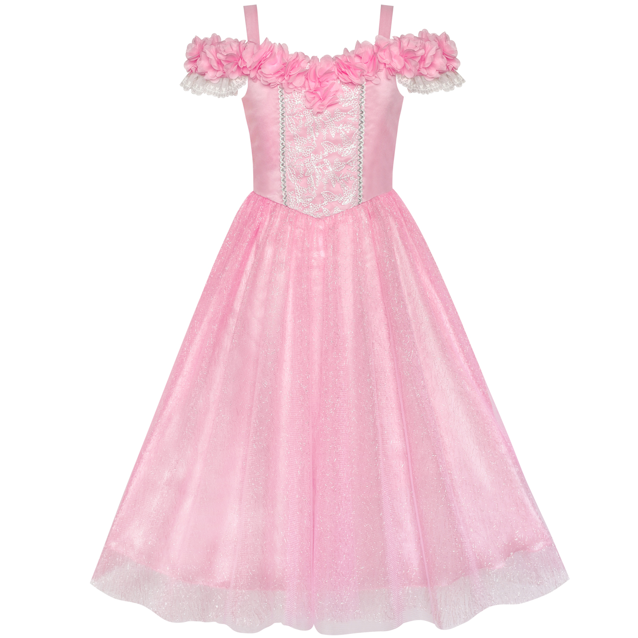 Sunny Fashion Flower Girls Dress Pink Cold Shoulder Bridesmaid Wedding 2018 Summer Princess Party Dresses Clothes Size 6-12 sunny fashion girls dress satin blue sky butterfly city building 2017 summer princess wedding party dresses clothes size 4 10