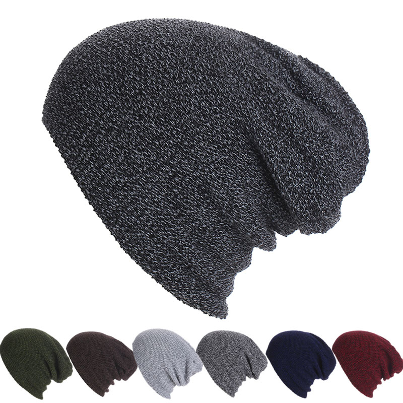 Skull gorros beanie winter Knitting Acrylic Hat Casual Unisex Caps Baggy Warm Hat Ski Slouchy Chic Cap hot winter beanie knit crochet ski hat plicate baggy oversized slouch unisex cap