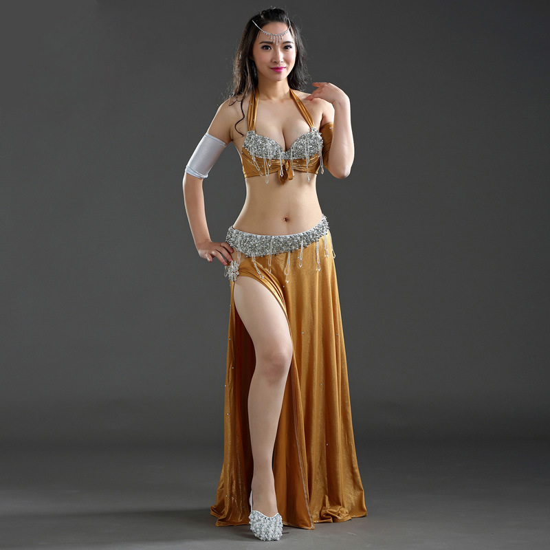 Stage Performance Dance Wear 2018 Women Belly Dance Clothes 3pcs Set (Bra Skirt Sleeves) Professional Belly Dance Costume Set