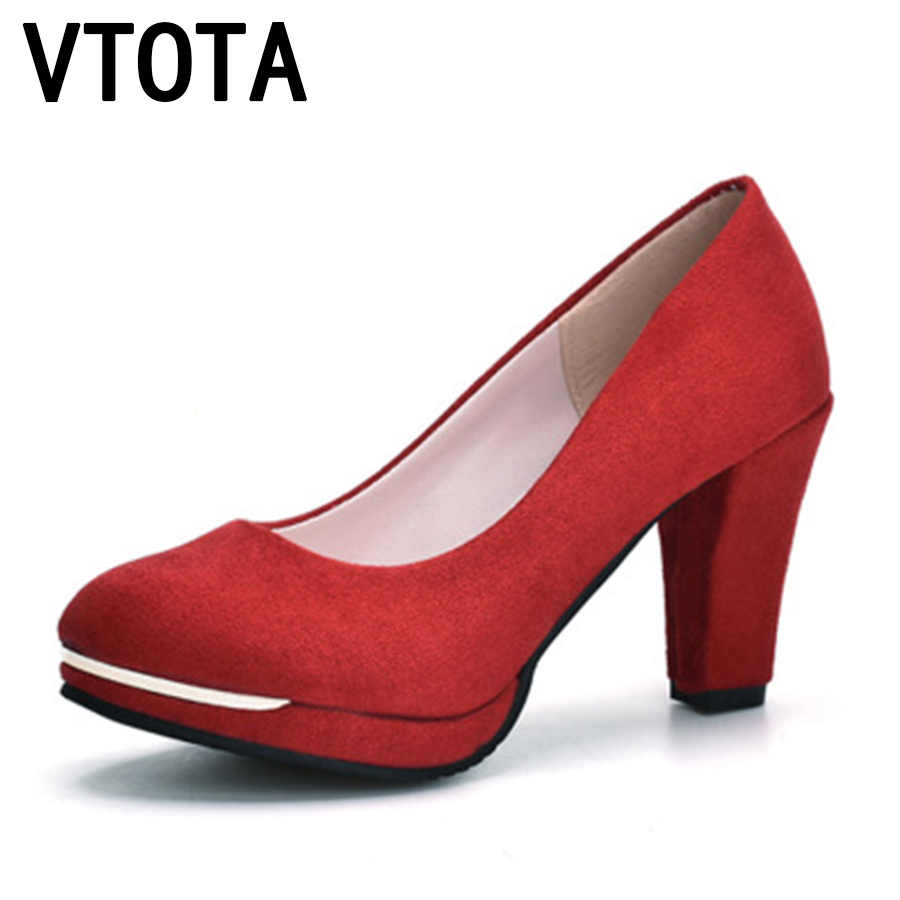 VTOTA High Heels Women Shoes Fashion Round Toe Platform Shoes Zapatos Mujer Shallow Mouth Sexy Pumps High Heel Shoes Woman C59