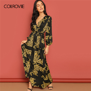 Image 3 - COLROVIE V Neck Scarf Print Belted Wrap Casual Dress Women 2019 Spring Long Sleeve Party Maxi Dress Vacation Ladies Dresses