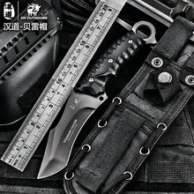 HX outdoor tactical knife multi tool surface plated titanium Fixed black Knife pocket knife Camping Tools survival hunting knive