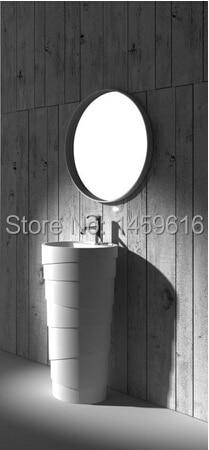 Bathroom Round Pedestal Washbasin Solid Surface Stone Cloakroom Freestanding Vanity Sink W9016