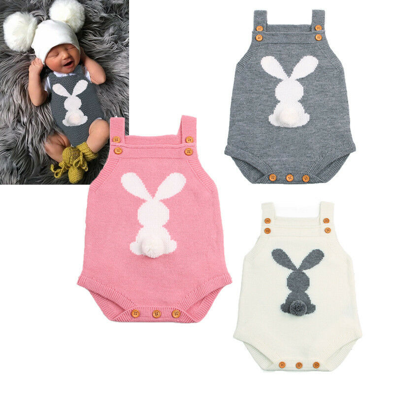 0-24M Newborn Baby Boy Girl Bodysuits Easter Bunny Knit Jumpsuit Infant Toddler Kids Outfit Set