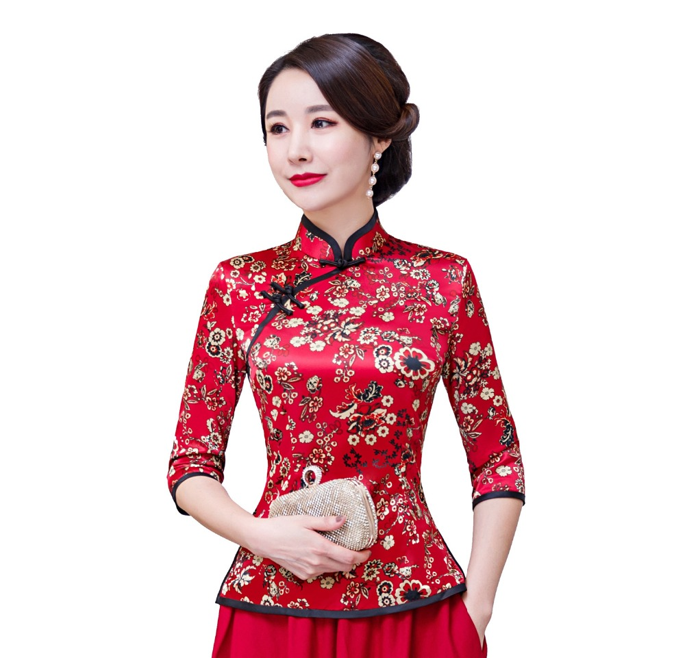 Shanghai Story Floral Cheongsam chemise Qipao Top 3/4 manches chinois traditionnel Top Faux soie chinois Blouse pour les femmes