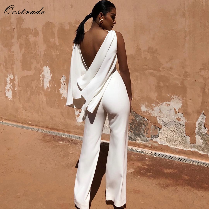 Ocstrade Women Summer Sexy   Jumpsuit   Clubwear 2019 New Arrival Open Back Draped White Bodycon   Jumpsuits   Romper Long