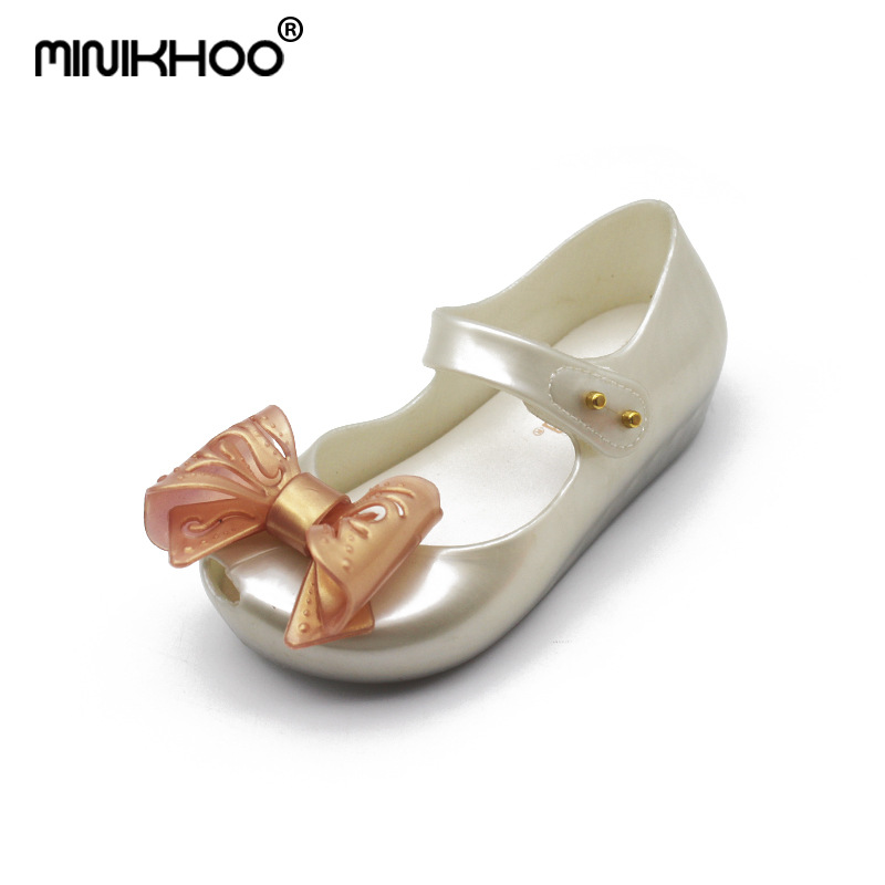Mini Melissa Original Bran Girl Sandals 2018 New Hollow Bow Jelly Sandals Non-slip Beach Shoes Toddler Jelly Princess Shoes