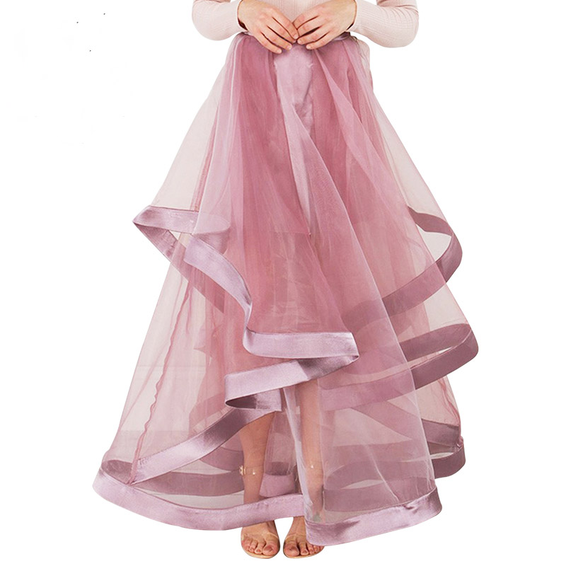 2017 Pretty Ruffles Rose Pink Organza Skirts For Women To Prom Party Ruched Black Long Skirt