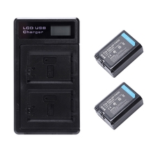 2 Pcs Np-Fw50 Battery And Dual Battery Charger With Usb Led Display For Sony Alpha Ilce Nex Slt Cyber-Shot Camera
