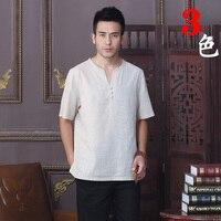 קיץ אופנה חדשה בז 'הכותנה פשתן קונג פו גברים סיני מסורת שרוול קצר חליפת טאנג החולצה Ml XL XXL XXXL D08