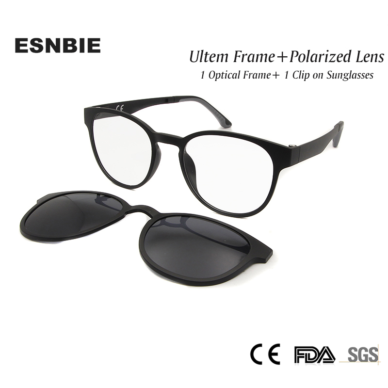 ESNBIE Ultem Polarized Clip On Sunglasses Magnet Frame Glasses Women Retro Round Eyeglass Spectacle Men oculos feminino
