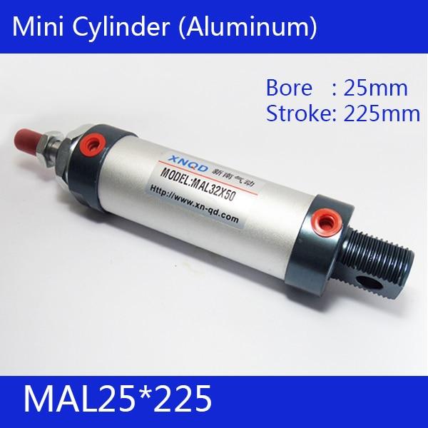 Free shipping barrel 25mm Bore 225mm Stroke  MAL25*225 Aluminum alloy mini cylinder Pneumatic Air Cylinder MAL25-225 65mm big bore cylinder barrel