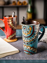 Porcelain cup with lid spoon Mug large capacity couple creative coffee retro style drinking water household