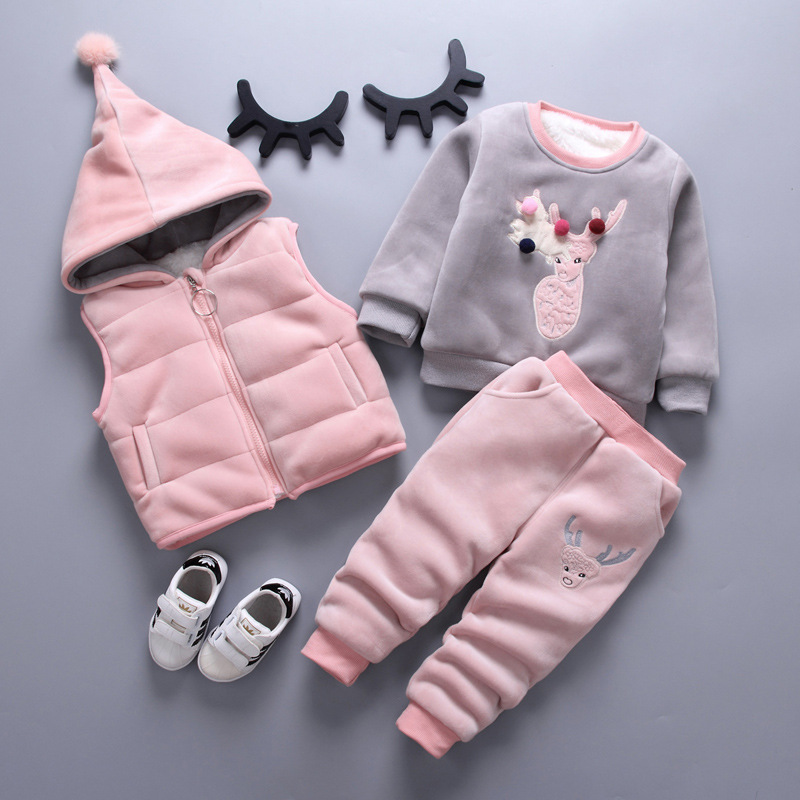 Children's Clothing Sets Winter Baby Girl Clothes Suit For Toddler Autumn Warm Hooded 3PCS Vest + Long Sleeves + pants 1-3 Year 1