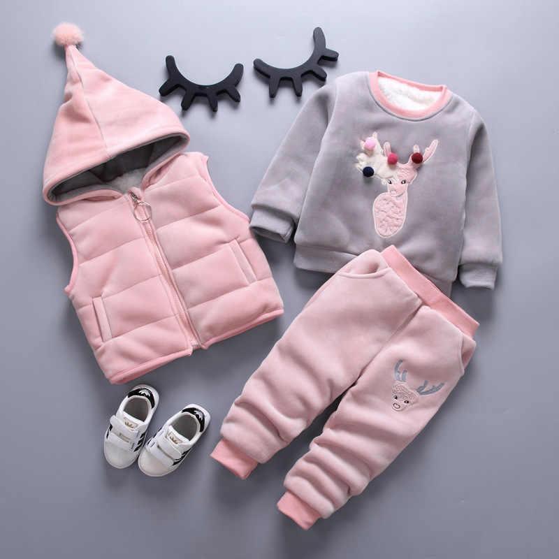 Kinderkleding Sets Winter Baby Meisje Kleding Pak Voor Peuter Herfst Warm Hooded 3Pcs Vest + Lange Mouwen + Broek 1-3 Jaar