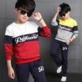 Детская одежда весна большие мальчики рубашка + брюки 2 шт., дети хлопка случайные свитер twinset детская одежда мальчика европа топ 5-14Y