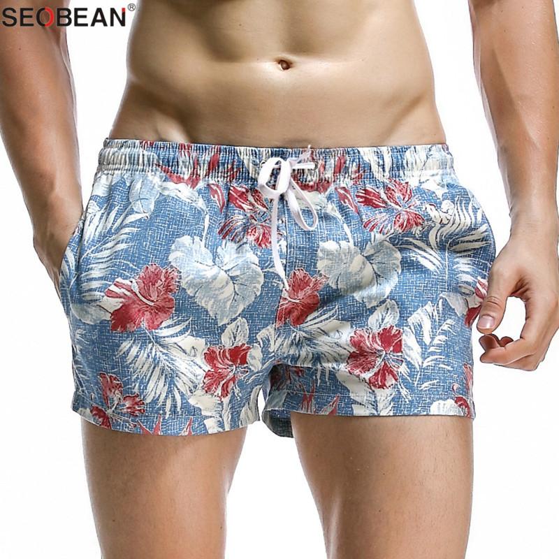 SEOBEAN Summer Style Seaside Men Beach Shorts Men Quick Dry Polyester Fabrics Beachwear Men's Board Shorts Trunks Print Shorts