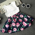 2016 Summer Kids Baby Girls Ruffled Tops+Floral Mini Skirts 2pcs Set Outfit 1-7Y Dresses