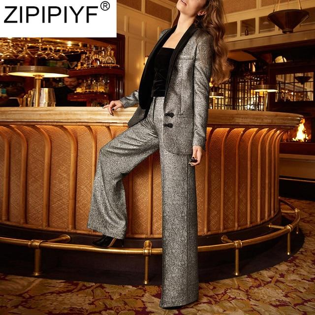 high quality women pant suits 2018 new autumn temperament fashion Office Lady long sleeve blazer+full-length pants suit C3271