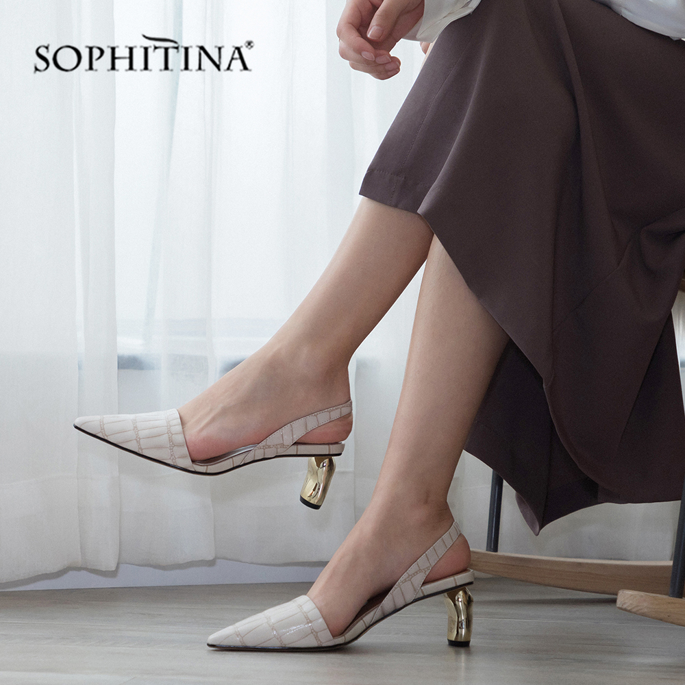SOPHITINA Genuine Leather Women s Sandals Slip On Fashion Gingham Elegant Party Shoes Shallow High Strange