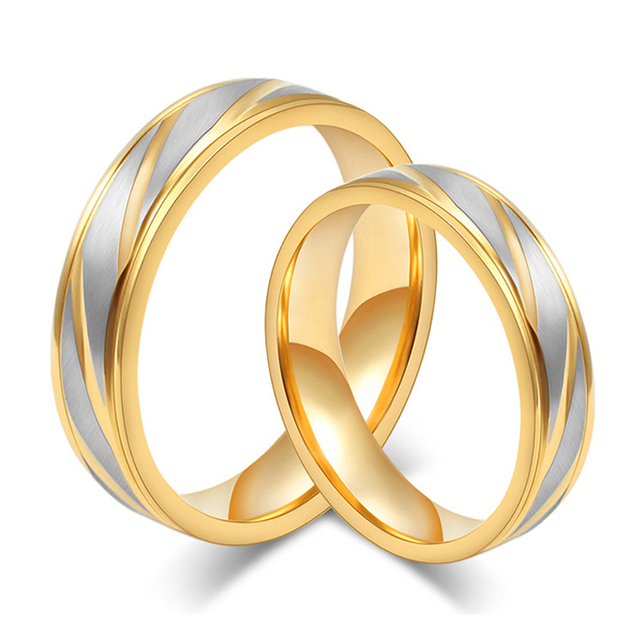 gold color custom alliance stainless steel wedding bands couples