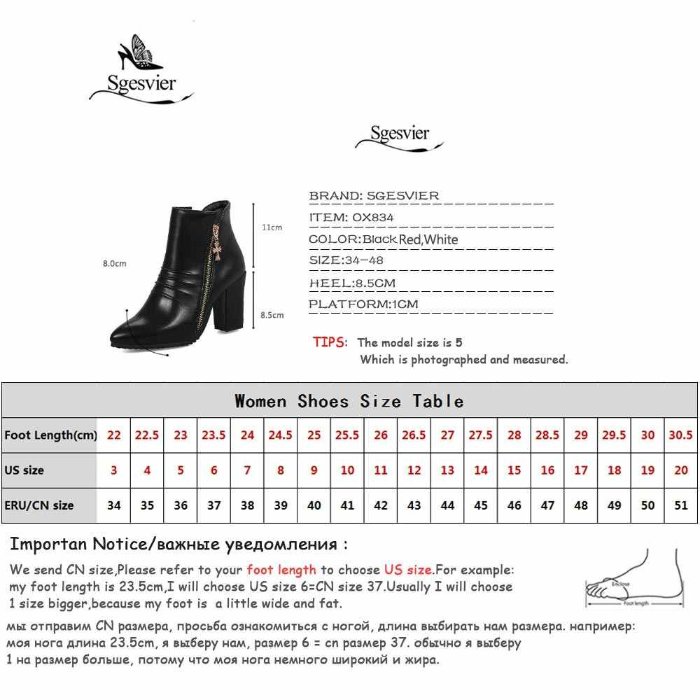 Sgesvier 2018 New winter ankle boots for women thick heel fashion pointed toe high heel womens boots black red white OX834