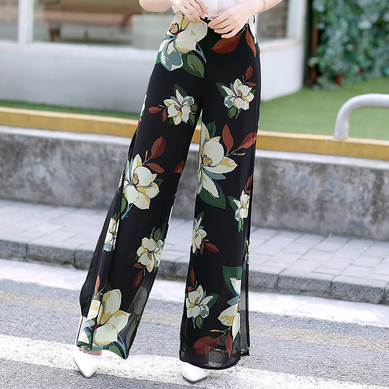 Womens Summer Wide Leg Long Trousers Casual Vintage High Waist Chiffon Side Split Loose Bohemia Skirt   Pants     Capris   Plus Size 4XL