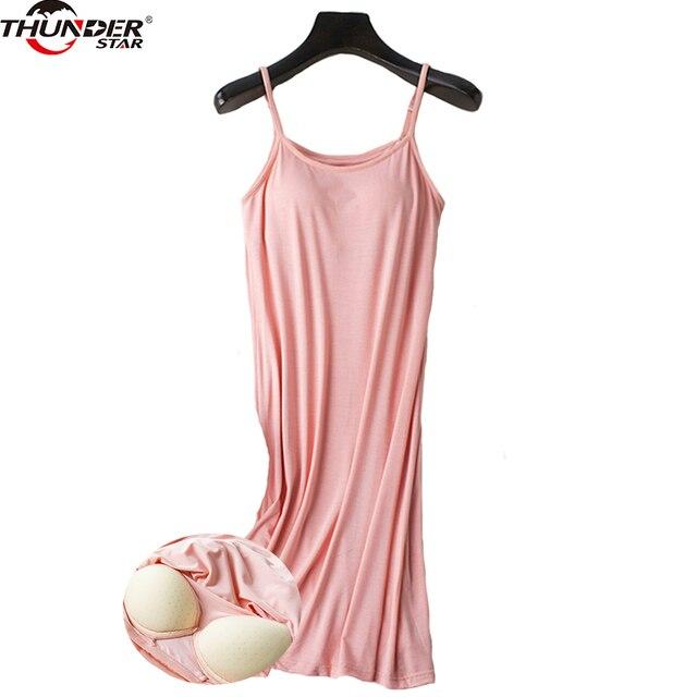נשים כתונת לילה מובנה מדף חזיית תחתונית מודאלי לילה שמלה ללא שרוולים מוצק כותונת טרקלין נשי הלבשת בגדי בית