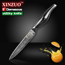 5″ utility knife Japanese VG10 Damascus kitchen chef knives Utility paring knife forged stainless steel handle FREE SHIPPING
