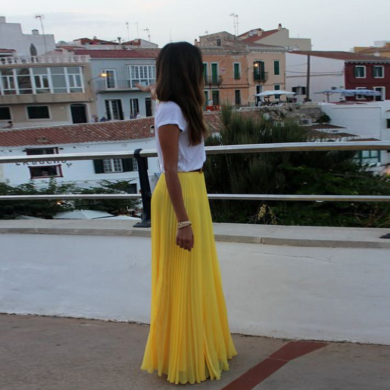 2018 Fashion Yellow Chiffon Long Skirt For Women Zipper Waist Black Girl Pleated Maxi Skirts Beach Boho Summer Skirt Faldas Saia