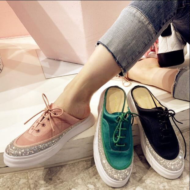2018 Spring Summer Women Slippers & Loafers Slip On Platform Flats With Crystal Lace Up Silk Satin Shoes Woman Pink Green Black 1159 fashion ice silk lace sleepshirts for women deep pink black free size